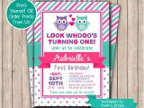 Owl themed 1st Birthday Invitations Owl Birthday Invitation Printable First Birthday Invite