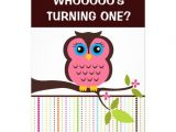 Owl themed First Birthday Invitations 700 Owl theme Invitations Owl theme Announcements