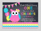 Owl themed First Birthday Invitations Owl Birthday Invitation Chevron Owl Birthday Party Invitation