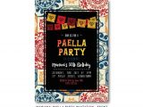 Paella Party Invitations Fiesta Invitation Sangria and Tapas by Frankiebeardesigns