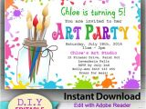Paint Party Invitation Template Editable Printable Art Party Invitation Children 39 S