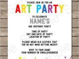 Paint Party Invitation Template Free Art Party Invitations Template Art Party Invitations