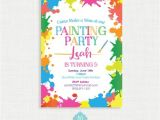 Paint Party Invitation Template Paint Party Birthday Invitation Painting Birthday Printable