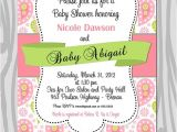 Paisley Baby Shower Invitations Baby Shower Invitation Pink Green Paisley Baby Girl by