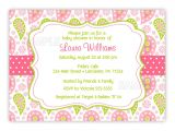 Paisley Baby Shower Invitations Paisley Baby Shower Bridal Shower or Birthday by