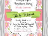 Paisley Print Baby Shower Invitations Baby Shower Invitation Pink Green Paisley Baby Girl by