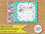 Paisley Print Baby Shower Invitations Paisley Baby Shower Invitation Personalized Diy 5×7