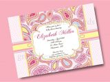 Paisley Print Baby Shower Invitations Pink Paisley Printable Party Invitation Printing Available