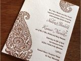 Paisley Wedding Invitation Template Indian Paisley Letterpress Wedding Card Indira Ajalon