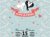 Paisley Wedding Invitation Template Vintage Wedding Invitation with Paisley Border Cartoon