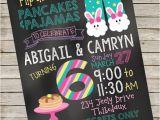 Pancake and Pajama Birthday Party Invitations Pancakes and Pajamas Invitation Piy File Pancakes Pjs