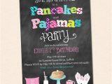 Pancake and Pajama Birthday Party Invitations Pancakes and Pajamas Party Invitation Chalkboard Style with