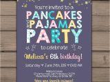 Pancake and Pajama Birthday Party Invitations Pancakes and Pajamas Party Invitation Pancakes Pajamas