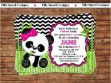 Panda Bear Birthday Party Invitations Panda Bear Invitation Panda Invitation by Tiffssweetdesigns
