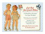 Paper Dolls Wedding Invitations Vintage Paper Dolls Wedding Shower Invites Blue Zazzle