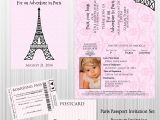 Paris Passport Baby Shower Invitations Paris Passport Birthday Baby Shower Custom and 50 Similar