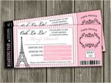 Paris Passport Baby Shower Invitations Printable Paris Boarding Pass Baby Shower Invitation