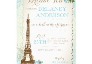 Paris Tea Party Invitation Paris Bridal Shower Tea Party Invitation Zazzle Com