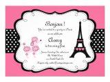 Paris Tea Party Invitation Paris Pink Poodle Eiffle tower Tea Party Bridal 5×7 Paper