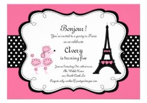 Paris Tea Party Invitation Paris Pink Poodle Eiffle tower Tea Party Bridal 5×7 Paper