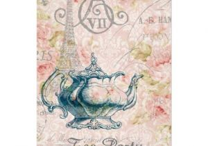 Paris Tea Party Invitation Teapot Paris Eiffel tower Vintage Tea Party 5×7 Paper