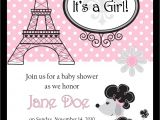 Paris themed Baby Shower Invites Baby Shower Invitations Paris Baby Shower Invitations