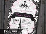 Paris themed Baby Shower Invites Paris Baby Shower Invitation Pink and Black Eiffel tower