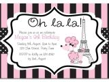 Paris themed Birthday Party Invitation Wording Paris themed Birthday Party Invitation by Chicpartyboutique