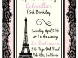 Paris themed Birthday Party Invitation Wording Printed Eiffel tower Parisian theme Birthday Bridal Shower