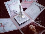 Paris themed Quinceanera Invitations Paris themed Exploding Box Invitations with Eiffel tower