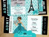 Paris themed Quinceanera Invitations Teal Paris Eiffel tower Invitations Paris theme