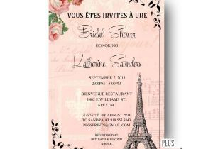 Parisian themed Bridal Shower Invitations Paris Bridal Shower Invitation Printable Paris themed