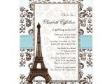 Parisian themed Bridal Shower Invitations Personalized Eiffel tower Invitations