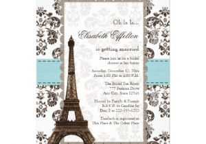 Parisian themed Bridal Shower Invitations Personalized Eiffel tower Invitations