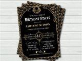 Party City 50th Birthday Invitations 40th Birthday Invitation Great Gatsby Birthday Party