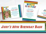 Party City 80th Birthday Invitations Custom Rainbow 80th Birthday Banners Invitations Thank