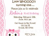 Party Invitation Cards Design Pink Owl Birthday Invitation Card Customize by Nslittleshop