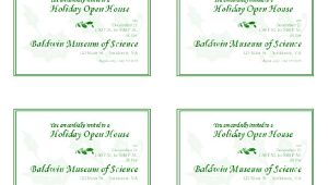Party Invitation Templates 4 Per Page Holiday Open House Invitation 4 Per Page