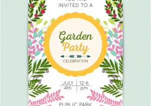 Party Invitation Templates Free Vector Download Garden Party Invitation Template Vector Free Download