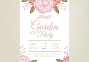 Party Invitation Templates Free Vector Download Garden Party Invitation Template with Beautiful Flowers