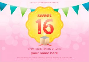 Party Invitation Templates Free Vector Download Sweet 16 Illustration Birthday Invitation Template