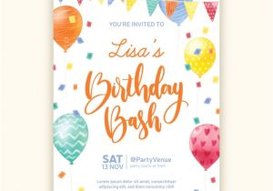 Party Invitation Templates Free Vector Download Watercolor Style Birthday Invitation Template Vector