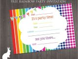 Party Invitations Online Free Free Rainbow Party Invitation Ruby and the Rabbit
