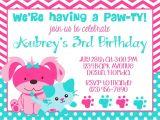 Party Pups Invitations Puppy Kitty 5×7 Invitation Girl Birthday Party