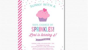 Party Sprinkles Invitations Cupcake Sprinkle Birthday Invitation Printable Digital