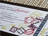 Passport Bridal Shower Invitations Deposit Boarding Pass Invitation Passport Stamps