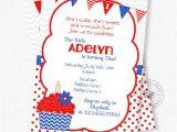 Patriotic Birthday Party Invitations Cupcake Birthday Invitation Patriotic Invitation Cupcake