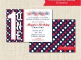 Patriotic Birthday Party Invitations Patriotic Birthday Invitation 1st Birthday Digital File or