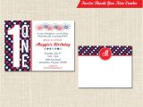 Patriotic Birthday Party Invitations Patriotic Birthday Invitation and Thank You Note Red White