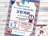 Patriotic First Birthday Invitations 4th Of July Invitation First Birthday Invitation Patriotic
